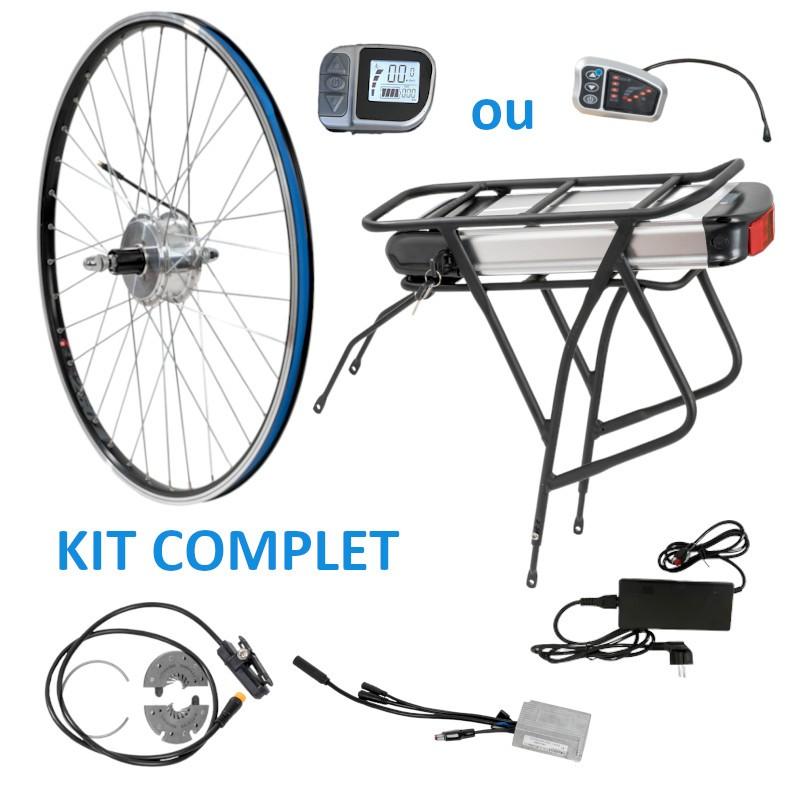kit complet arrière avec batterie porte-bagage pour kit vélo électrique
